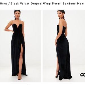 Strapless black velvet dress